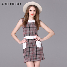 2016 Autumn Sleeveless Sheath Plaid Wool Tweed Bodycon Tunic Tank Wrap Mini Dress British European Style Tartan Clothing