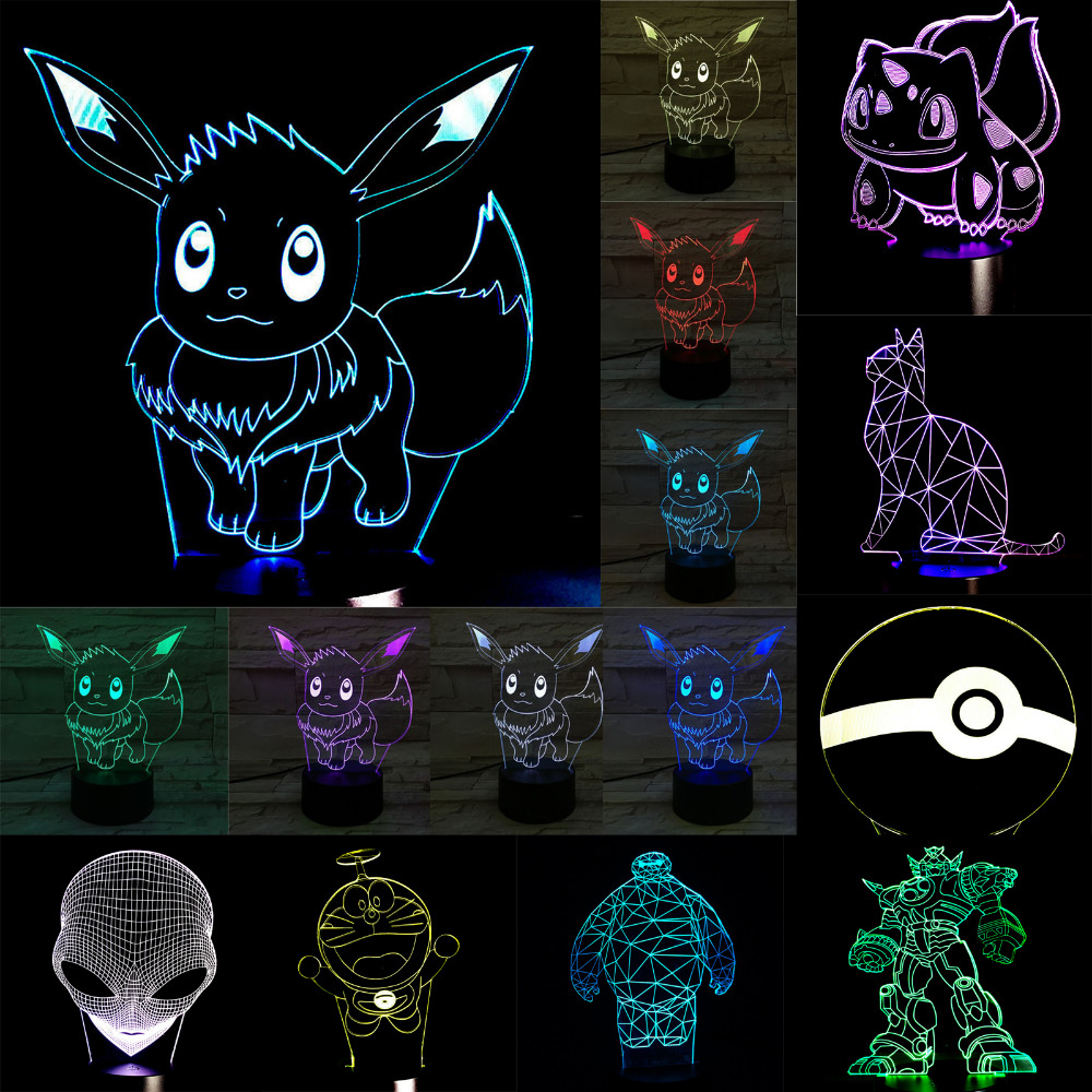 HOT SALE Wholesale Cartoon 3D USB LED Lamp Figure Pokemons Go Game Ball Skull Bay Max Dora Cat Colorful Decoration Night Light