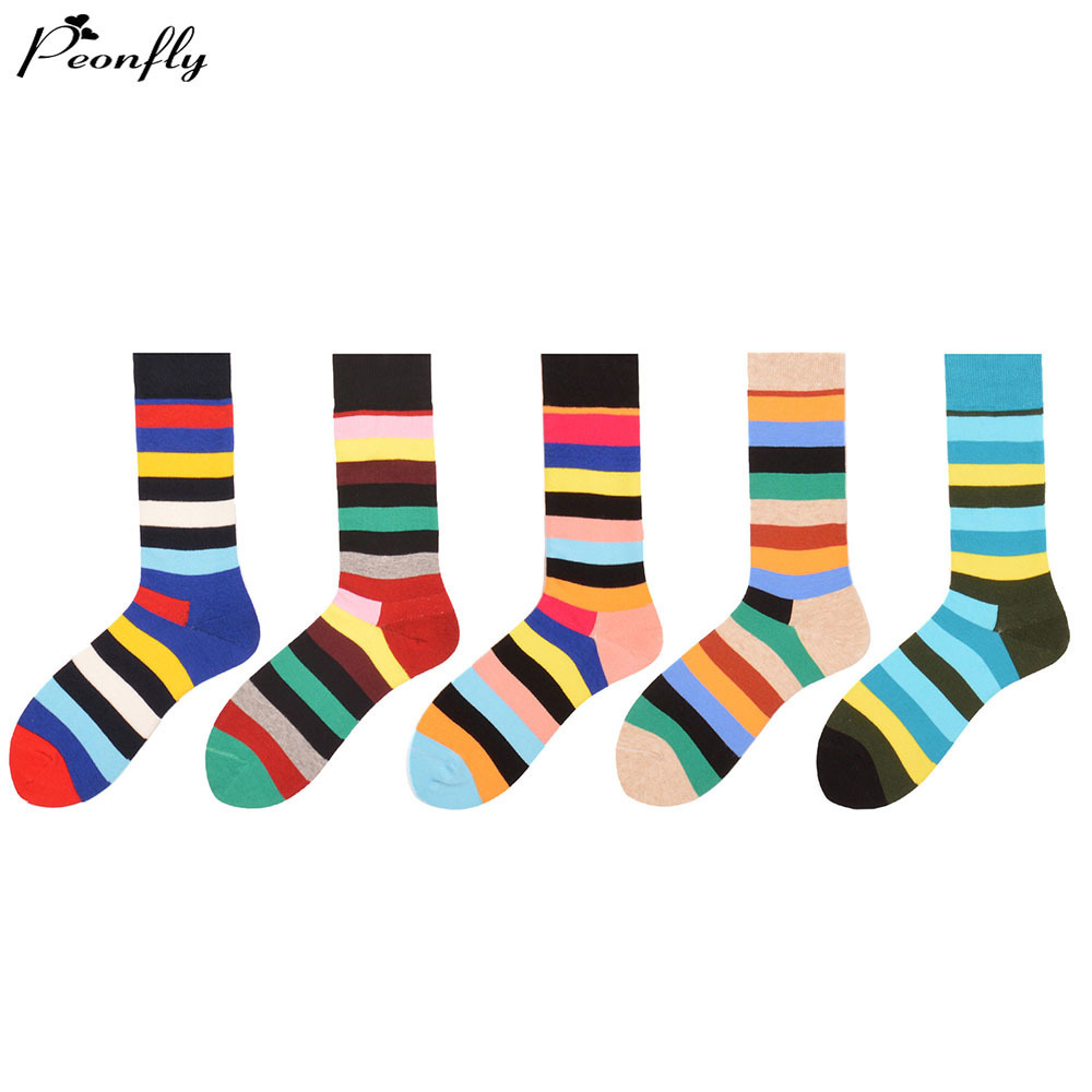 PEONFLY 5 pair/lot colorful Mens combed cotton business socks long tube wedding gift socks for man women couple knee high dress