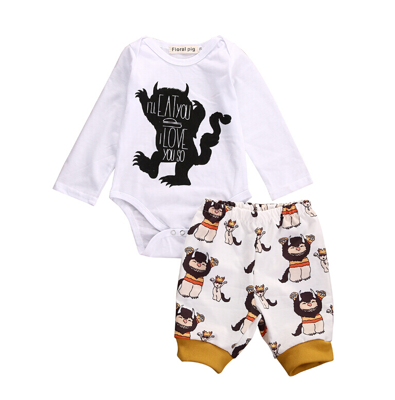 Newborn Baby Girls Boys Clothes Minions Monster Bodysuits Long Sleeve Pants Casual Clothing Outfits Set Cotton Infant Boy Girl