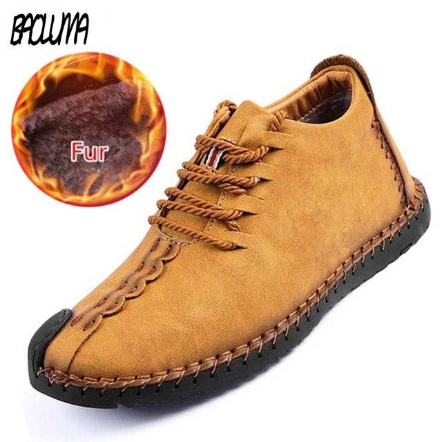 Classic Men Boots Winter Plush Warm Snow Boots Mens Winter Boots Lace-Up Autumn Basic Driving Ankle Shoes Plus Size 38-48 3