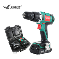 LANNERET 18V 45Nm DC Lithium ion Battery 3/8inch 2 Speed Electric Cordless Drill Mini Electric Screwdriver Wireless Power Driver