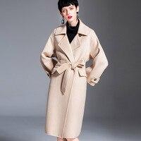 Новая кашемирвое пальто женское 2018 Корейская версия двусторонней ветровки осенне зимняя Длинная шерстяная куртка