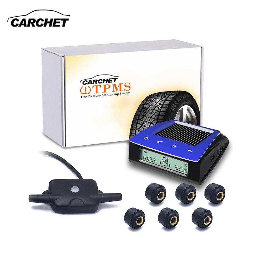 Carchet Беспроводной RV Прицепы автомобиль солнечной TPMS шин Давление мониторинга Системы 6 внешних Датчики ЖК дисплей Дисплей для авто на колес