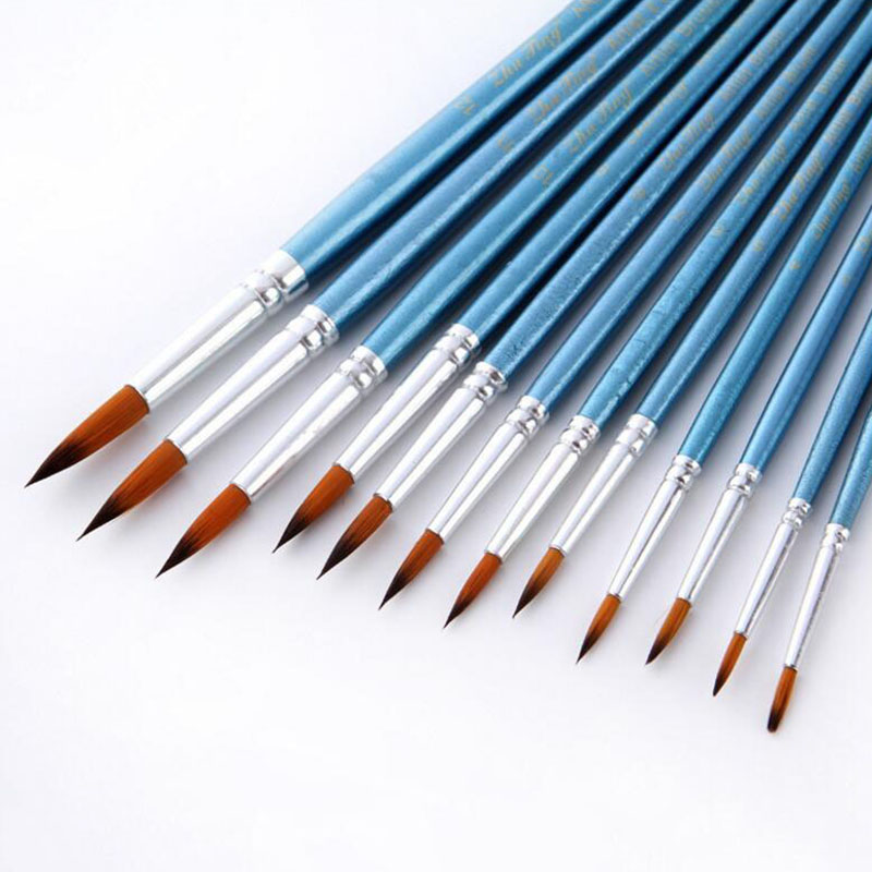 US $3 09 30% OFF|12Pcs/Lot Paint Brush Oil Painting Brushes Watercolor  Gouache Paint Brushes Nylon Hair Different Size Artist Fine Art Supplie-in