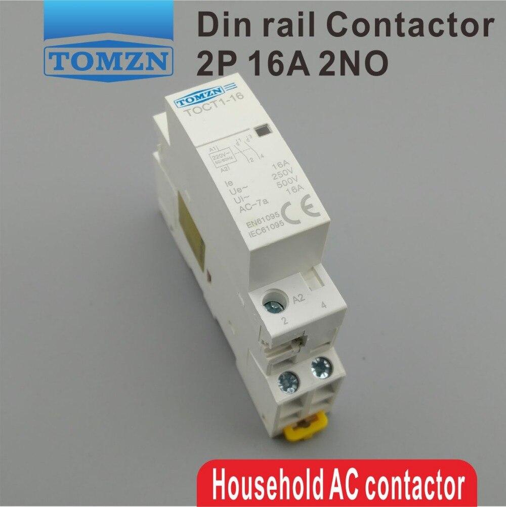 1 pcs TOCT1 2 p 16A 220 v/230 v 50/60 hz Din rail ac Domestique Modulaire contacteur 2NO ou 1NO 1NC