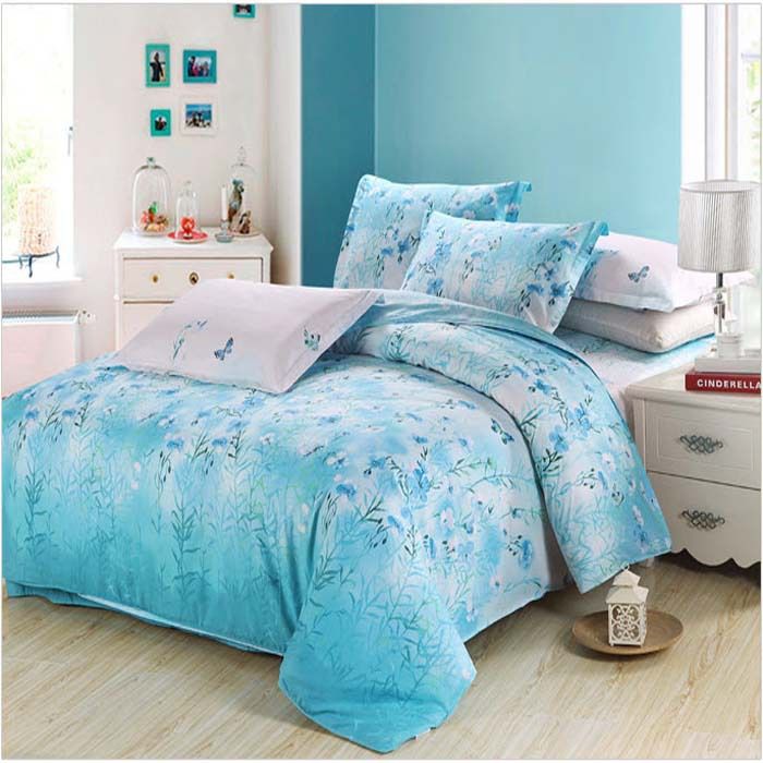 Unique Ice Blue Butterflies Flying Bedding Set Turquoise