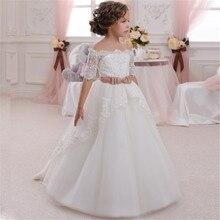 Новое платье с цветочным узором для девочек на свадьбу, Аппликации белого цвета/цвета слоновой кости, бальное платье с короткими рукавами и круглым вырезом, платья для первого причастия, Vestidos Longo