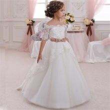 8842c8af83 Nowy kwiat dziewczyna sukienka na wesele biały kości słoniowej suknia balowa  z aplikacjami krótkie rękawy O-neck pierwsza komuni.
