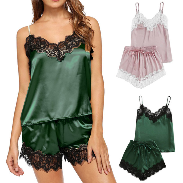 3c3d1b2996 home suit shein women's pajamas sexy lingerie Satin Sling Sleepwear  Lingerie Lace Bowknot Nightdress Underwear set home clothes
