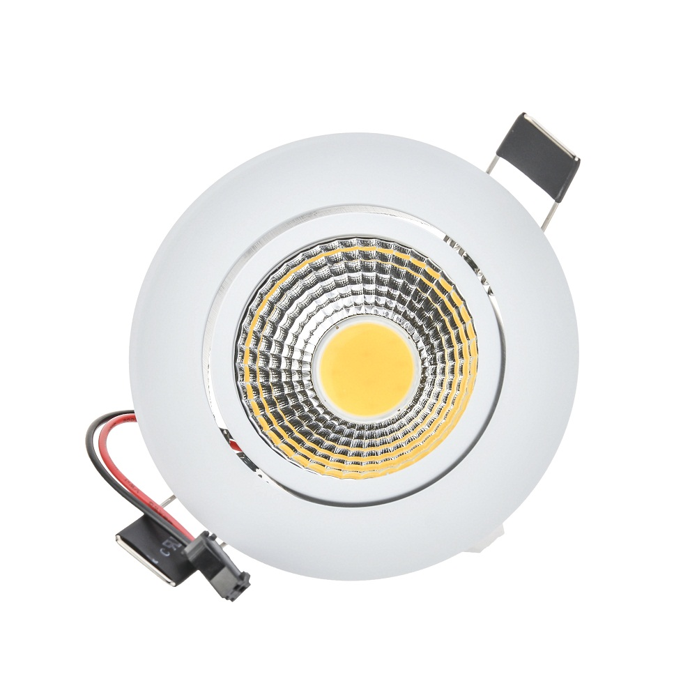50 unids / lote alto brillo led mazorca downlight regulable 6W luces led blanco shell AC110V / 220V cálido / fresco blanco envío gratis