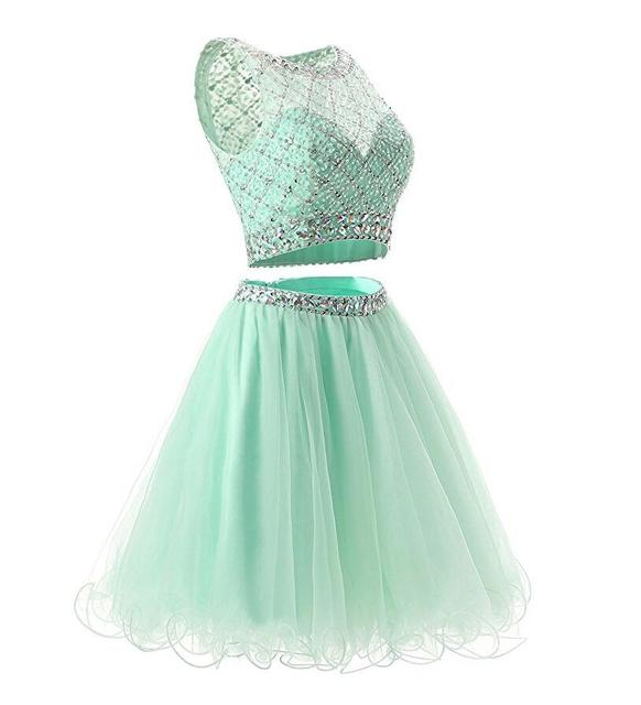 Mint Green Graduation Dresses 2 Piece Beading Sequin Top Tulle Skirt