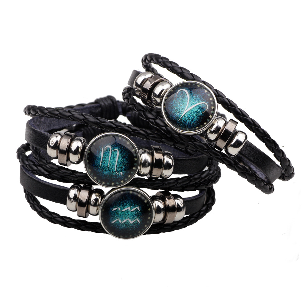 12 Zodiac Signs Bracelet 12 Constellation Mens Bracelets beaded Handmade Charm Leather Bracelet Punk Rock men Jewelry Браслет