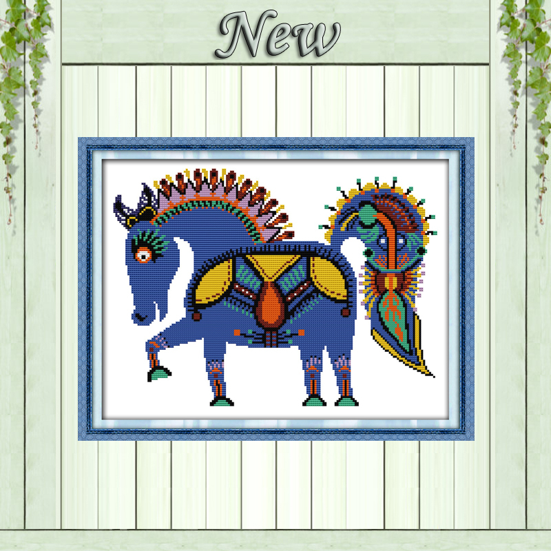 The happy horse decor picture counted print on canvas DMC 14CT 11CT NKF Cross Stitch diy chinese Embroidery kits Needlework Sets image