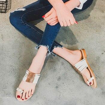 2018 SAGACE Women Fashion Pearl Set Toe Summer Flat Flip Flops Sandals Gladiator Sandals Women Nouveau Loafers Bohemia Shoes римские сандали