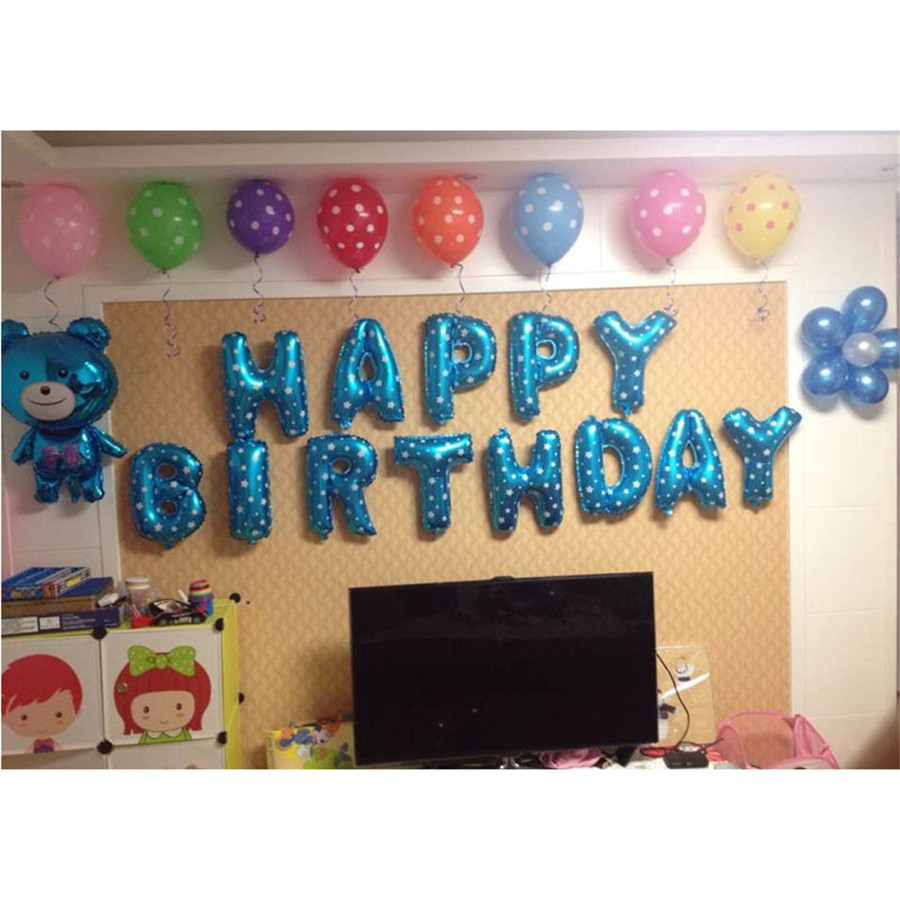 Foil Balloons Bule Letters HAPPY BIRTHDAY Party Supplies Children Birthday Decoration Letter Ballons favors