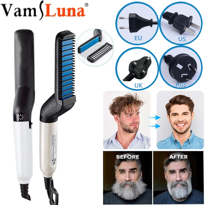 Quick Beard Straightener Brush , Electric Hair Straightening , Heat Brush Magic Massage Comb For Men