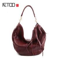 AETOO Pure leather Europe, Japan and South Korea fashion handbags leather shoulder portable diagonal ladies multi purpose bag
