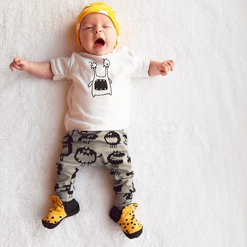 2017 Summer Baby Boy Clothes Sets Newborn Boys Clothing Cotton Cartoon Short Sleeves T-Shirts + Baby Pants 2 pcs. Costume SY153