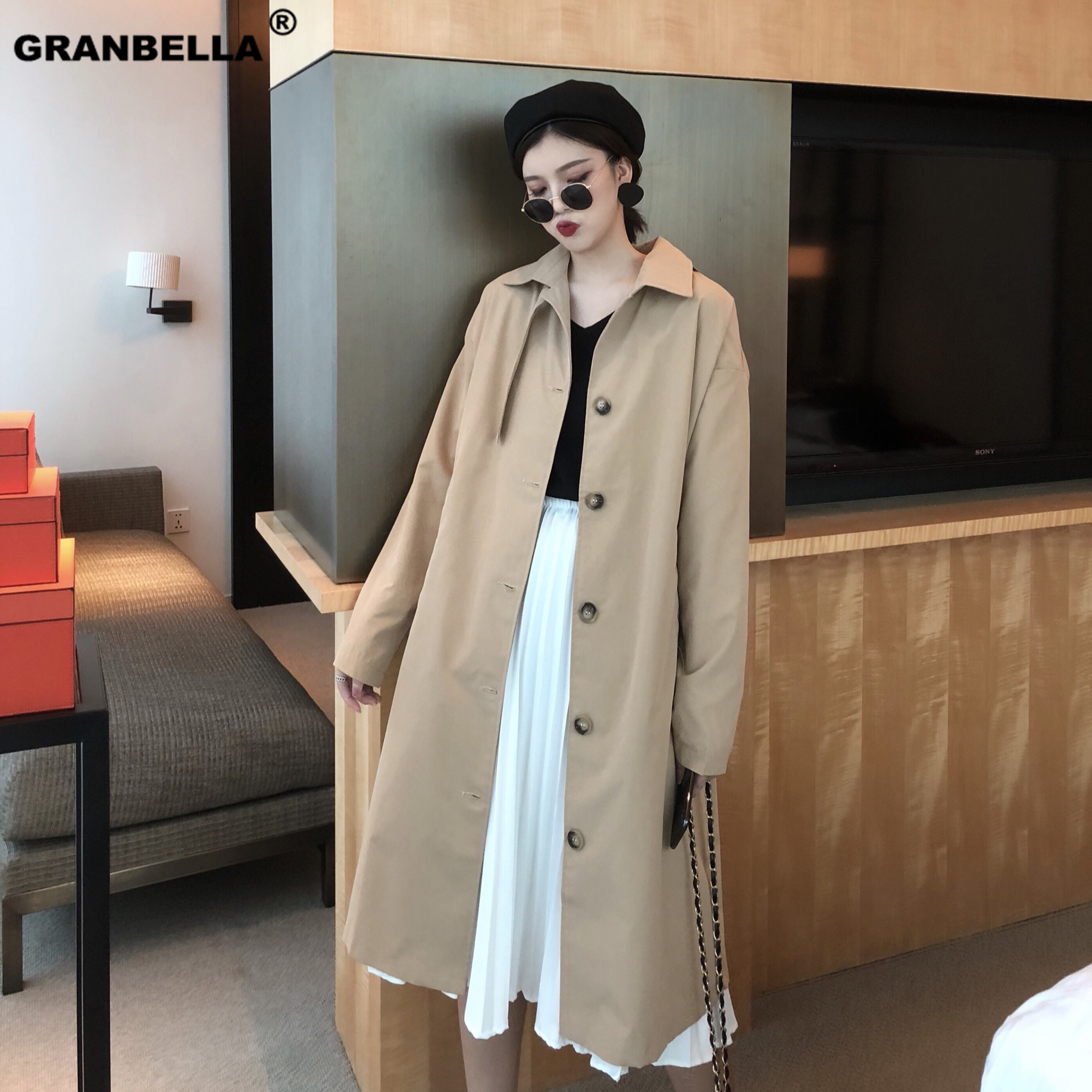 Spring Thin Fabric Long   Trench   Coat For Women Korean And Japanese Style Vintage Chic Turn-down Collar Single Breasted Cloak