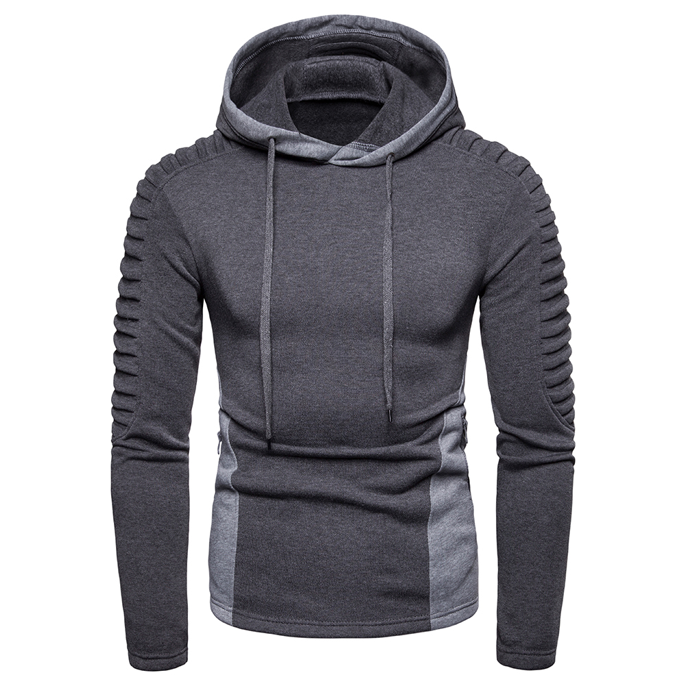 Drop Shipping Hoodies Men Long Sleeve Solid Color Hooded Sweatshirt 2019 Fashion Fold Zipper Pocket Casual Sportswear Gray Black