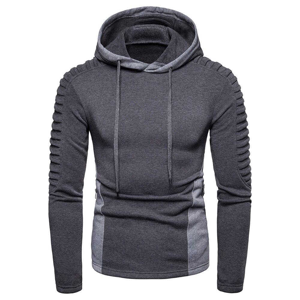 Drop Shipping Hoodies Men Long Sleeve Solid Color Hooded Sweatshirt 2019 Fashion Fold Zipper Pocket Casual Sportswear Gray Black
