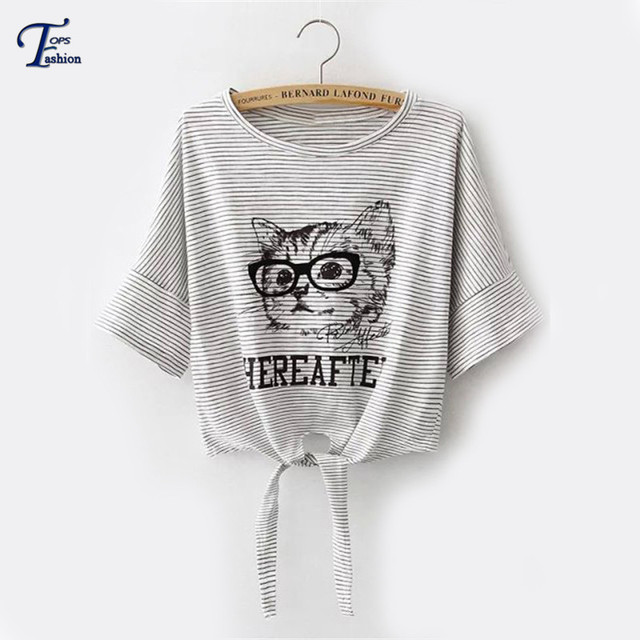 Women Summer New Hot Tops Cute Korean Style Tees Grey Casual Striped Cat Printed Knotted Short Sleeve Round Neck Cropped T-Shirt