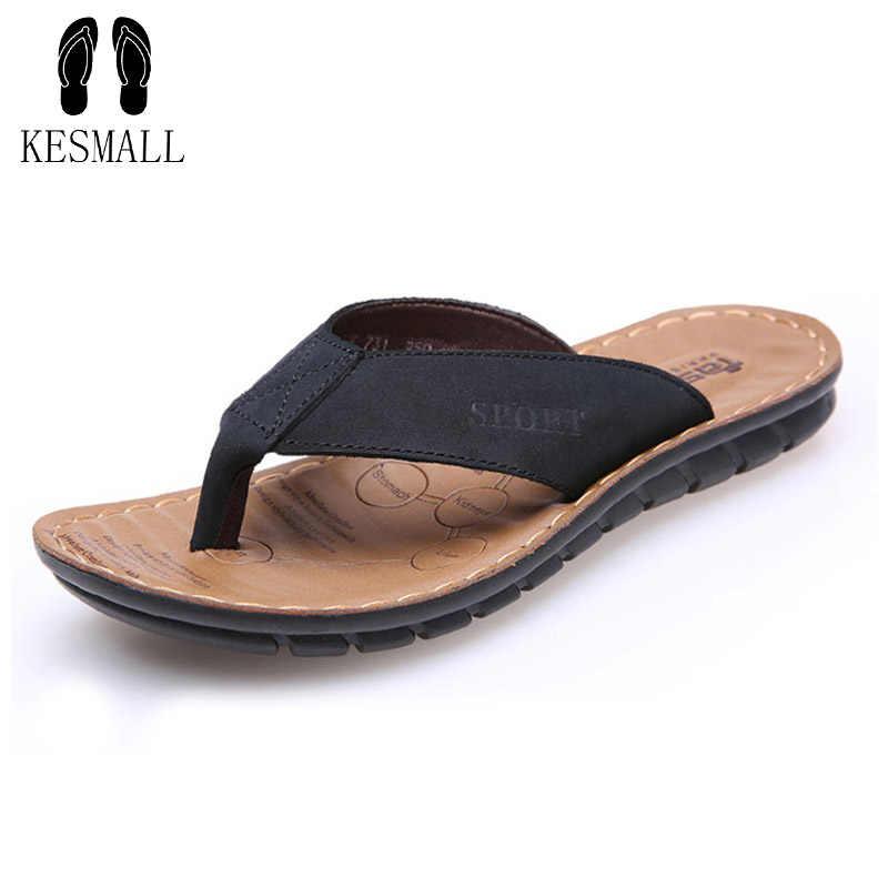 61cc032fc933 KESMAL Men s flip flops Genuine leather Slippers Summer fashion beach  sandals shoes for men plus size
