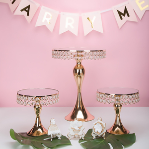 Image 2 - New arrive Gold Crystal cake stand set Electroplating gold mirror face fondant cupcake sweet table candy bar table decorating