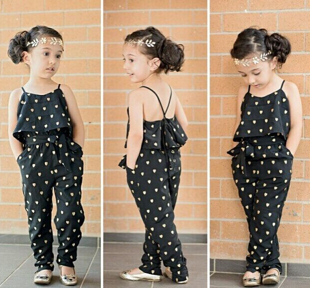 SKZ130 2018 new Fashion baby girl sling clothes girl summer style strap heart-shaped onepiece jumpsuit set kids clothes retail
