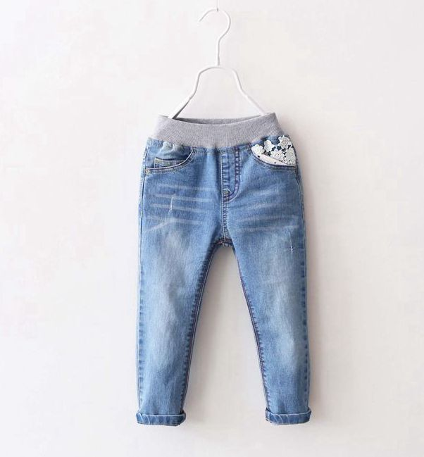 New Arrival Baby Girls Spring Autumn Denim Jeans Girls Cotton Jeans With Lace Pocket Child Long Pants Girls Trousers 2017 new designer korea men s jeans slim fit classic denim jeans pants straight trousers leg blue big size 30 34