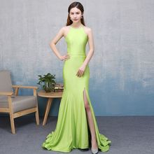Vestido madrinha 2018 new satin Halter neck backless high split lime green  sexy mermaid bridesmaid dress ed5b4e826639
