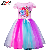 ZiKa Girls Summer Dresses 2017 Little Horse Elsa Costume 2 10 Years Baby Girl Princess Clothes