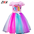 ZiKa Girls Summer Dresses 2017 Little Horse Elsa Costume 2-10 Years Baby Girl Princess Clothes Kids Short Sleeve Net Yarn Dress