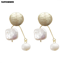 Sansummer 2019 New Hot Fashion Freshwater Pearls Trendy Elegant Drop Earrings For Women Metal Party Simple Jewelry 7008j