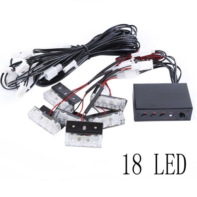 Amber/White 18 LED / 54 LED Emergency Vehicle Strobe Flash Lights for Front Grille / Deck or Rear Warning light