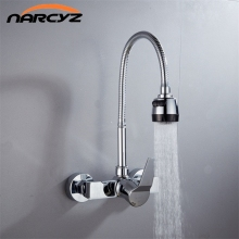 Wall Mounted Double Holes Flexible Kitchen Faucet Mixers Sink Tap Wall Kitchen Faucet Hot and Cold Water XT 21