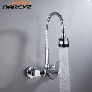 Image 1 - Wandmontage Dubbele Gaten Flexibele Keukenkraan Mixers Sink Tap Muur Keukenkraan Warm en Koud Water XT 21