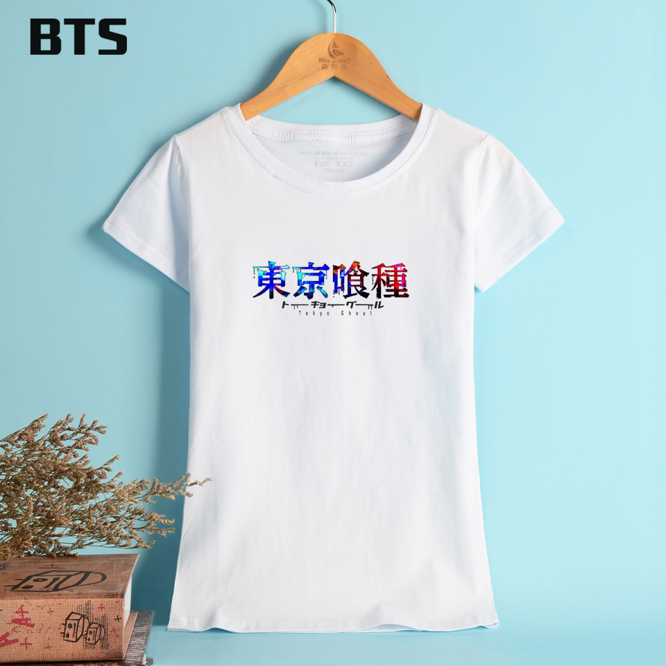 BTS Tokyo Ghoul Cotton T-shirt Women Plus Size T Shirt Women Funny Simple Fashion Tees And Tops Cotton Clothes 4xl Plus Size