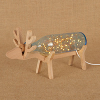 Modern creative glass bottle table lamps wooden deer shape starry lights string USB night light for cupboard living room deco
