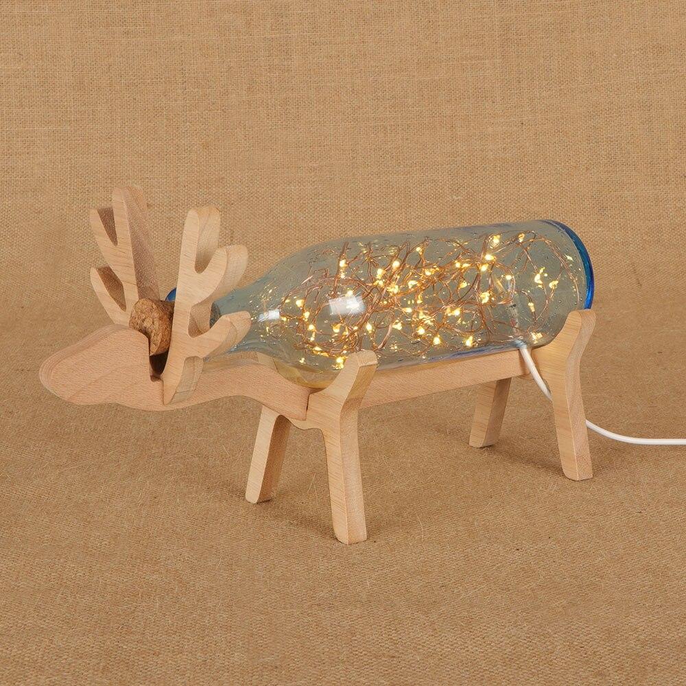 Moderne Creatieve Glazen Fles Tafel Lampen Houten Herten Vorm Sterrenhemel Verlichting String Usb Nachtlampje Voor Kast Woonkamer Deco Het Voeden Van Bloed En Het Aanpassen Van De Geest