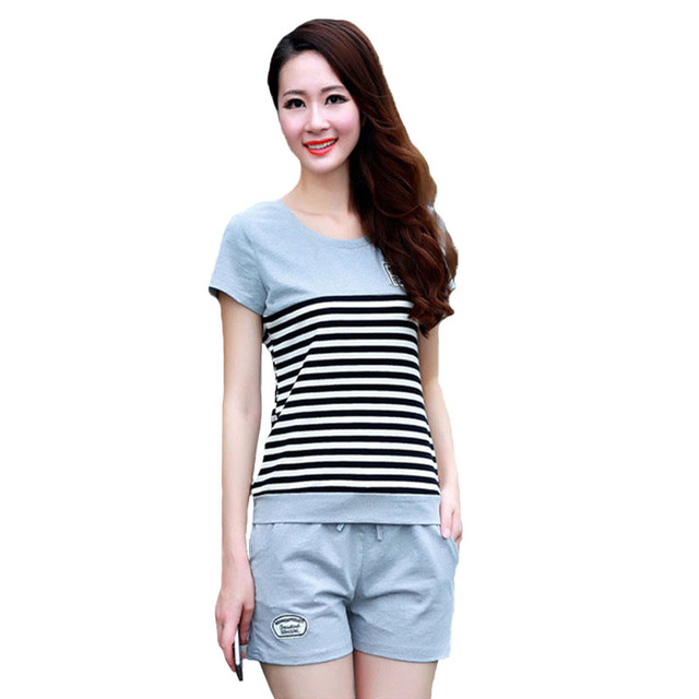 bbe0d13e901876 Damskie dresy dwuczęściowy zestaw lato krótki rękaw w paski T Shirt topy +  spodenki pot zestaw