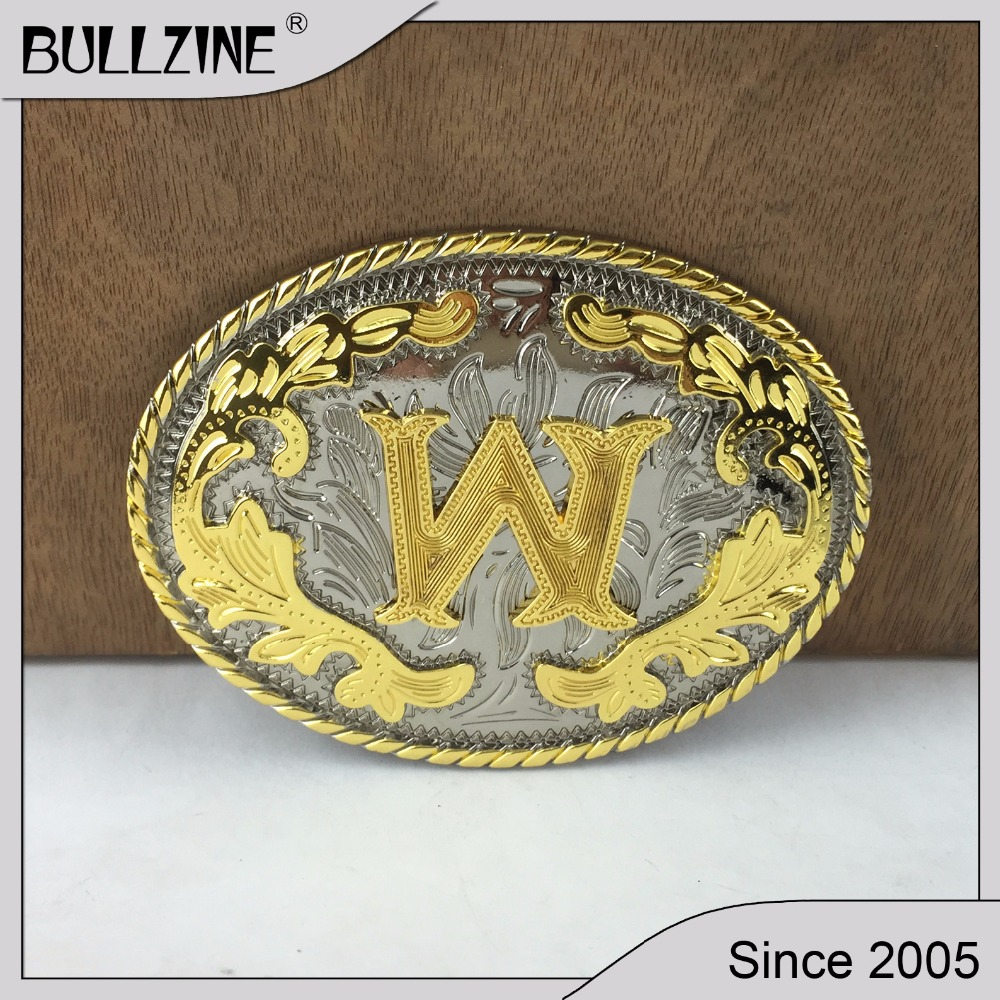 """Silver And Gold Leters: The Bullzine Western Flower With Letter """"W"""" Belt Buckle"""