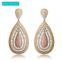 MECHOSEN Luxury Cubic Zirconia Water Drop Earrings Three Tones Plated Gold Color Long Earring Oorbellen Pendientes Mujer Moda