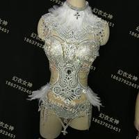 Sang trọng Crystals Sparkly Lông Trang Phục Sáng Màu Đen Bạc Thạch Trang Phục Nữ Ca Sĩ Sinh Nhật Dresses Stage Mặc B