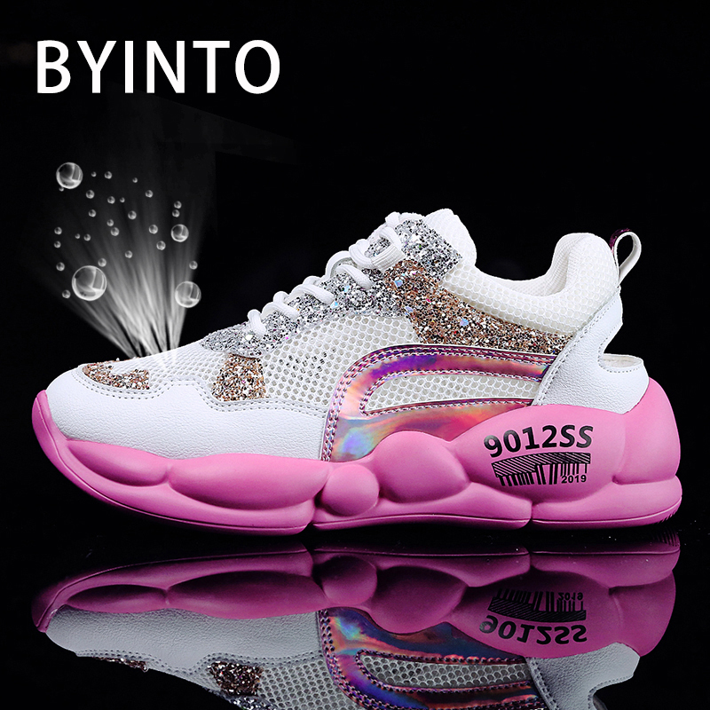 vêtements de sport de performance doux et léger 60% de réduction US $27.0 49% OFF|2019 Woman Sequins Air Thick Sole Chunky Sneakers Gym  Hollow Upper Breathable Tennis Shoes Women Sport Shoe Tenis Feminino  Femme-in ...