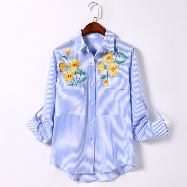 86a4f810fd Spring autumn blue white striped embroidered flower shirt pure cotton long  sleeved casual LADY CLOTHES FACTORY WHOLESALE