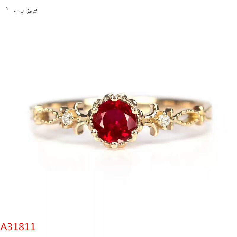 KJJEAXCMY Fine jewelry Fine 925 pure silver inlaid natural ruby female ring support test