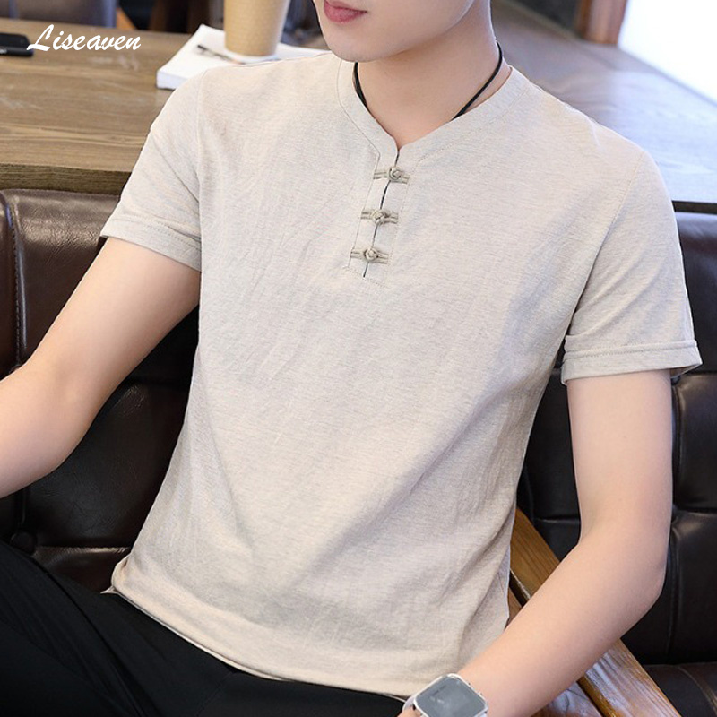 Liseaven Men 2019 Chinese Style Summer T-Shirts Slim Fit Short Sleeve T Shirt V-Neck Solid Color Tee Shirts