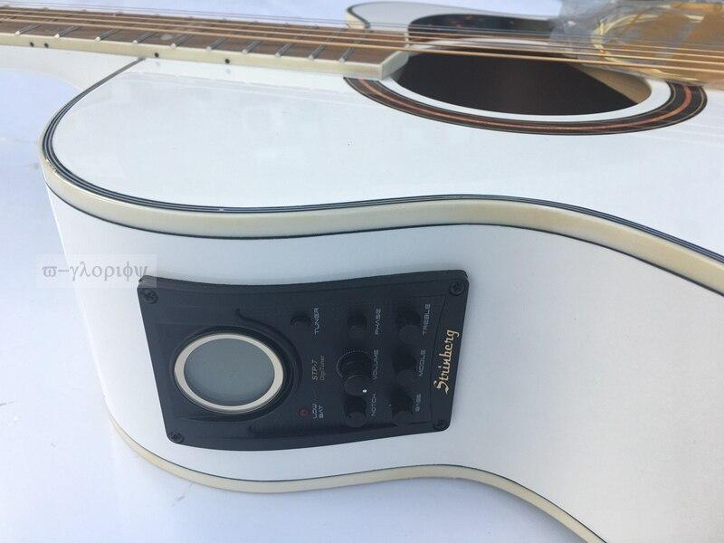 Blanc couleur 40 pouces Nouveau Strinberg Acoustique guitare avec Pré-Amp avec Tuner